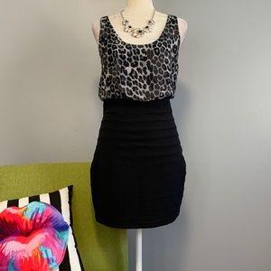 Express Black Leopard Blouson Mini Dress